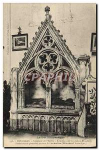 Old Postcard Interior of Espagnac & # 39eglise Tomb of the prioress Elizabeth