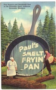 Escanaba MI Paul Bunyan Paul Smelt Fryin' Pan Curteich Linen Postcard