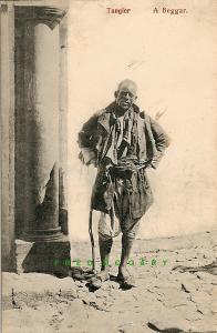 Circa-1910 Tangier Morocco Postcard: Street Beggar In Rags