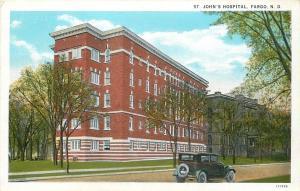 Fargo North Dakota~St John's Hospital~1920s Vintage Car~Postcard