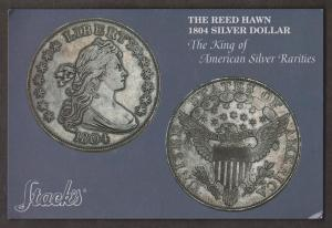 The Reed Hawn 1804 Silver Dollar Stack's Coin Auction, NYC - Unused 1993