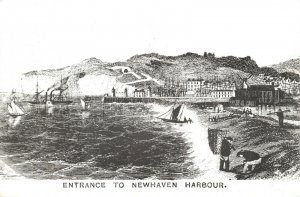 Art Engraving Postcard print, Entrance to Newhaven Harbour, Sussex 67W
