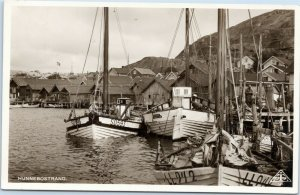 Fishing Boats in Hunnebostrand, Sweden rppc 1947 postcard