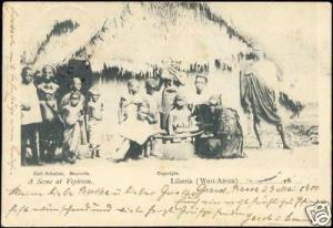 liberia, VEYTOWN, Group of Natives in Front of Hut 1900