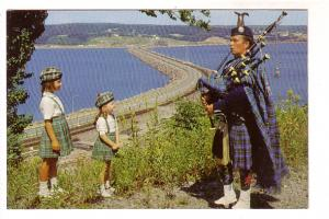 Bag Piper and Little Girls Wearing Tartan Kilts, Cape Breton, Nova Scotia, Th...