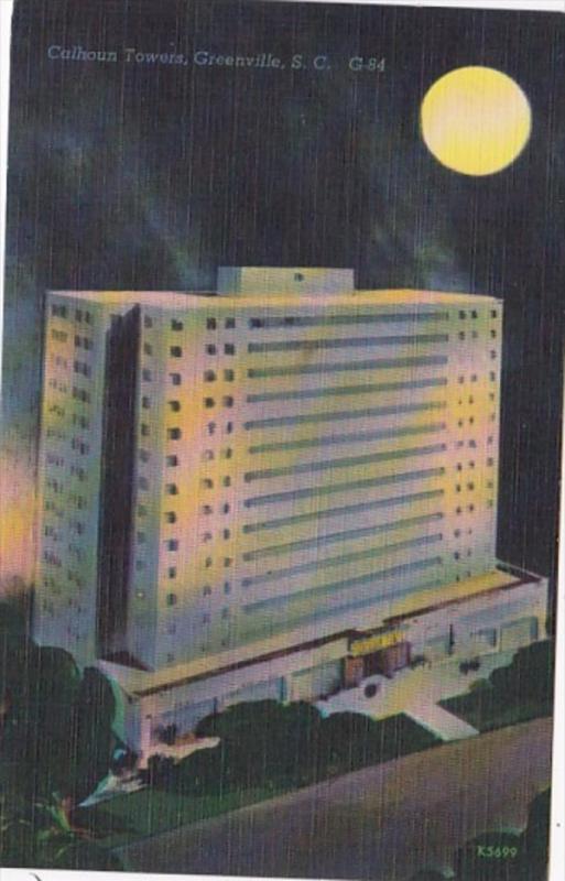 South Carolina Greenville Calhoun Towers At Night