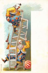 Two Clowns Perform Ladder Chairs Ball Early #6508 Postcard