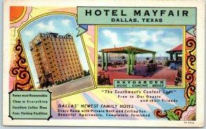 Dallas, Texas Postcard HOTEL MAYFAIR w/ Skygarden Rooftop View - 1936 Cancel