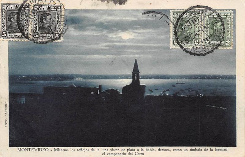 Uruguay Montevideo Moonlight Silver Reflections, Hill Steeple, Bay 1929