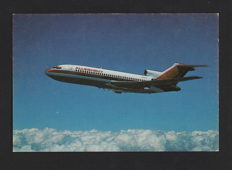 POSTCARD AIRLINE ISSUED ALLEGHENY AIRPLANE AIRCRAFT 727 AIRPLANES AVIONS z1