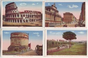 P978 4 vintage cartolina artistica views roma italy