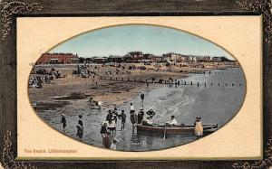 Littlehampton, The Beach, animated children bath sunbathing boat pier 1911
