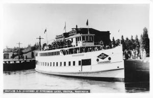 Seattle Washington~Government Locks~Dock Folks~SS Sightseer~Gray Line~1950 RPPC