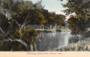 Spencer Iowa~Sioux River~Picturesque Scene~Trees Reflection~1908 Postcard