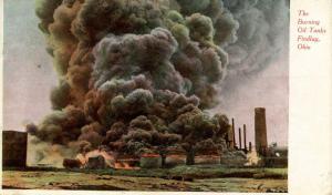 OH - Findlay. Burning Oil Tanks
