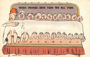 Vintage 1903 Comic, funny Postcard, When Father Says Turn, We all Turn #C