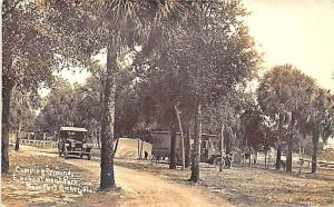 New Port Richey FL Camp Ground Enchantment Park Trucks Real Photo RPPC Postcard