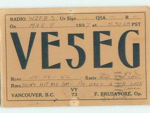 1930s QSL RADIO CARD Vancouver British Columbia BC AH3157