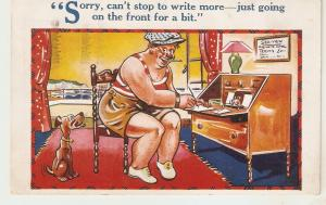 Sorry, can't stop to write more... Humorous  English postcard 1930s