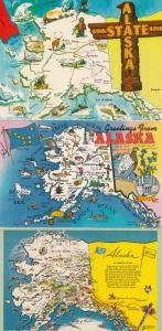 Alaska's Flag 3x Map Postcard s
