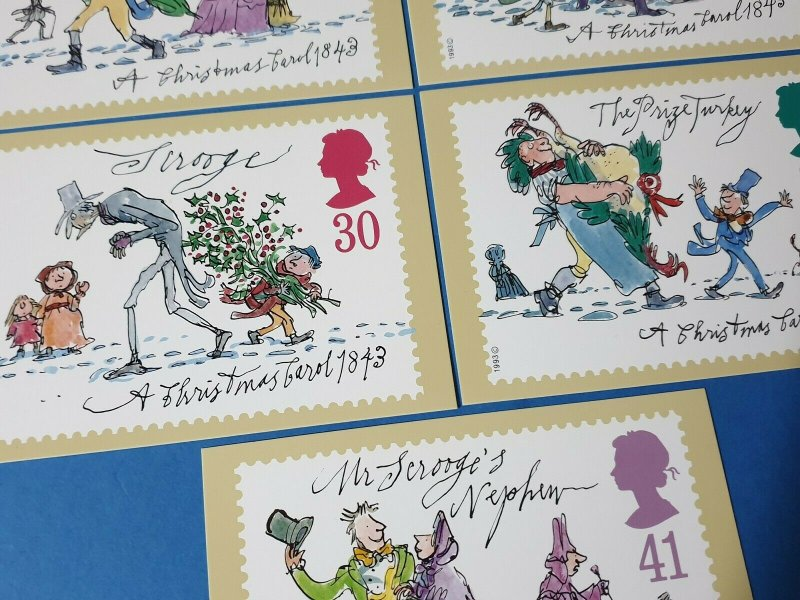 Set of 5 PHQ Stamp Postcard Set No.157 Christmas 1993 + free gift BQ5