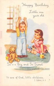 Teddy Bear Post Card Happy Birthday 1958