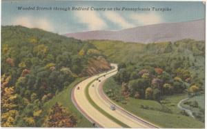 Wooded Stretch through Bedford County on the Pennsylvania Turnpike, Postcard