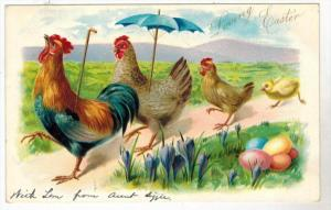2324  TUCK´s   Easter- Rooster & Family Umbrella