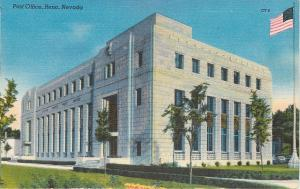 Reno, Nevada~Big Flag Pole~Art Deco Post Office~1951~Postcard