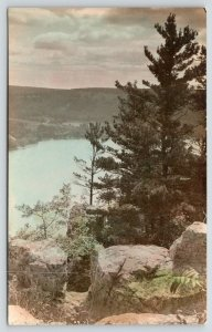 Lake Champlain?* New York~Vista Portrait 1920s Lovely Colorized RPPC Postcard