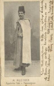 egypt, Egyptian Fakir and Flame Dancer M. Mustafa (1906)
