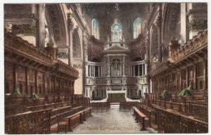 London; St Paul's Cathedral, Choir E PPC By Gordon Smith, Unused, c 1910's