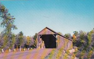 Maine Littleton Covered Bridge On Road To Woodstock Over Meduxnekeag Stream I...