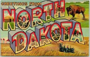 1940s Greetings from NORTH DAKOTA Large Letter Postcard Buffalo Linen Unused
