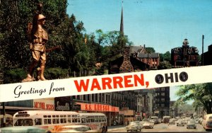 Ohio Greetings From Warren Showing Soldiers Monument and Main Street 1972