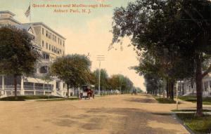 Asbury Park New Jersey Grand Ave Marlborough Hotel Antique Postcard K55598