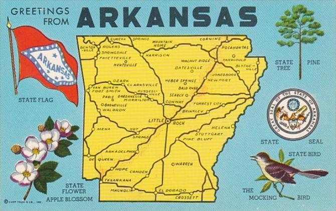 Freetings From Arkansas With Map