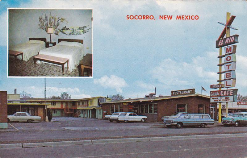 2-Views, Downtown SOCORRO, New Mexico; El Rio Motel, 40-60s