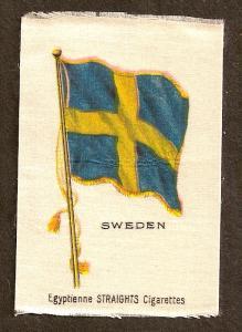 TURN OF CENTURY CIGARETTE SILK - SWEDEN FLAG