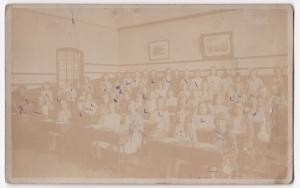 Social History, Girls Class Group in School Room RP PPC, Unposted, c 1910's