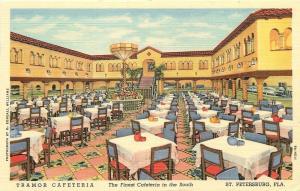 St. Petersburg Florida~Planter Lantern Fixture~Tramor Cafeteria~1940s Postcard