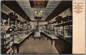 1910 Winnebago, Minnesota Postcard O.C. RETSLOFF JEWELRY STORE Interior View