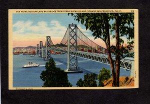 CA San Francisco Oakland Bridge Buena Island California Linen Postcard