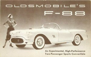 1950s Oldsmobile F-88 Experimental Sports Convertible Auto Advertising Postcard