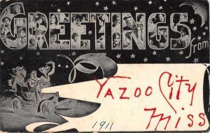 Yazoo City Mississippi Greetings Large Letter Antique Postcard J71406