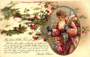 Red Suited Santa Claus Christmas Toys Houghton & Dutton Co. Boston MA Postcard