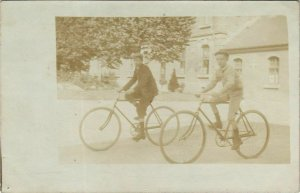 CPA carte photo AMIENS bicycle (18435)