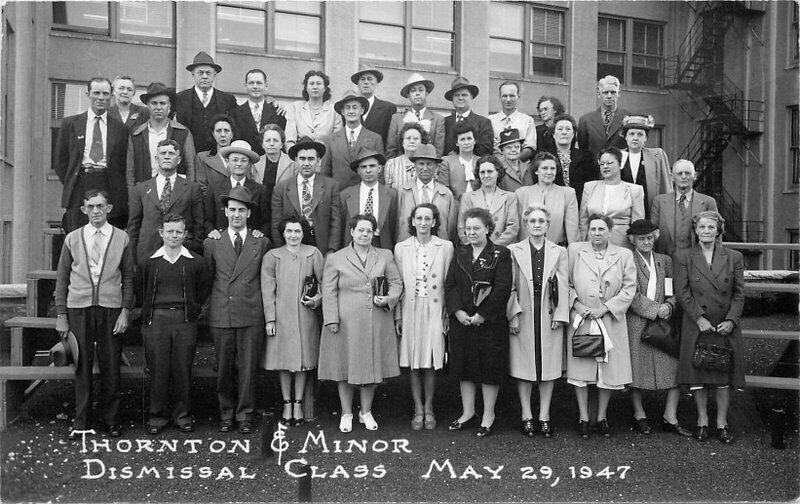 1947 Thornton & Manor Dismissal Class RPPC Photo Postcard 10544