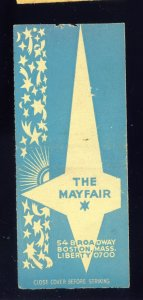 Boston, Massachusetts/MA Match Cover, The Mayfair Night Club-Cocktail Lounge