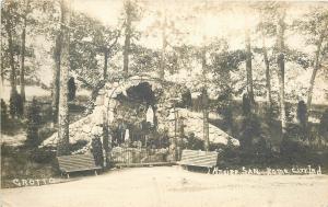 Rome City Indiana Sepia Real Photo Postcard~Kneipp Sanitarium~Grotto c1913